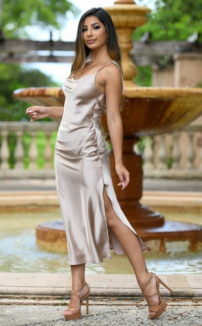 Lorena Midi Dress -Sand Lady Black Tie