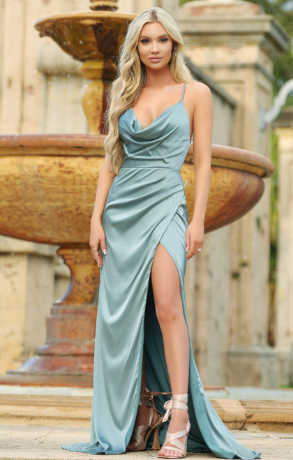 Tiana Cowl Neck Gown - Robin Blue