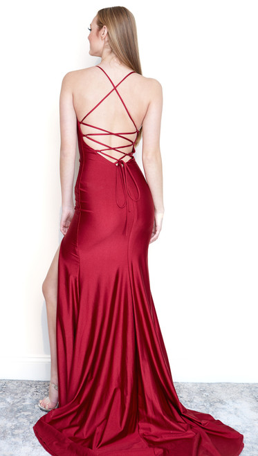 Luxe Lace Up Back Bodycon Gown w/Slit by  Atria 6009 in beet red
