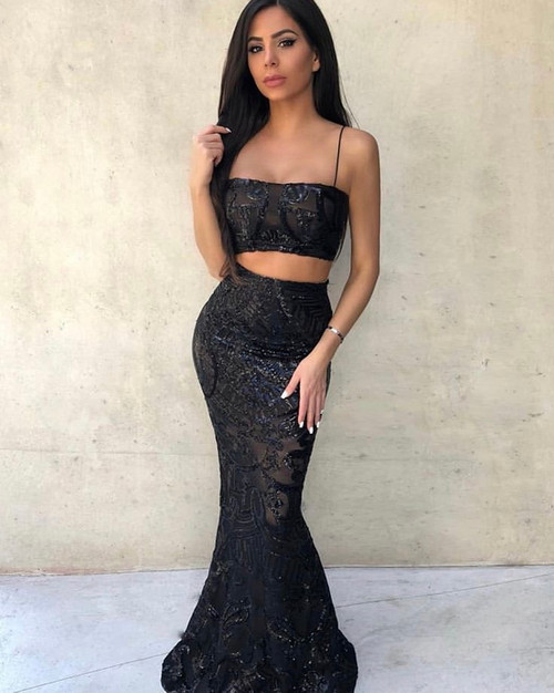 Mon Cherie Crop and Skirt in Black by Nookie
