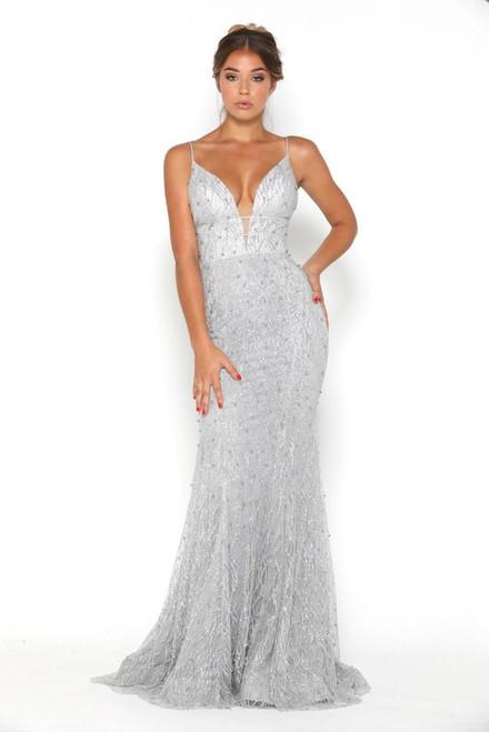 2afd34fc0b3e The Olivia Gown by Portia   Scarlett in silver ...