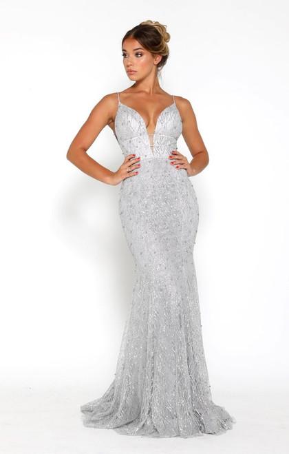 a0b1760df93b ... The Olivia Gown by Portia   Scarlett in silver ...