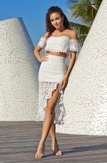 Randi 2 piece set in white by Velvi - Lady Black Tie