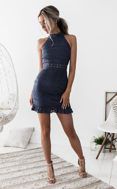 Rivers Mini Dress in Steel Blue - Two Sisters the Label