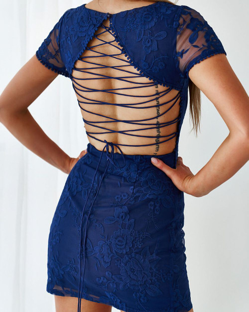 Shay Lace Dress in Navy Blue - Two Sisters the Label