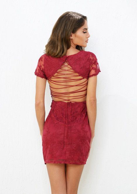 Shay Lace Dress - Berry