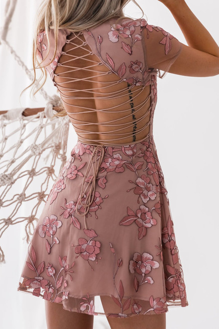 The Saskia Dress - Embroidery Rose