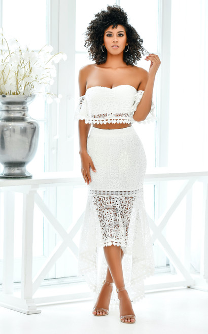 The Celine Set in White by Two Sisters the Label, White Two Piece lace dress