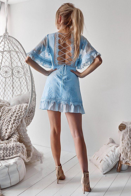 The Jennie Dress in Baby Blue by Two Sisters the Label. Stunning baby blue lace up back short dress