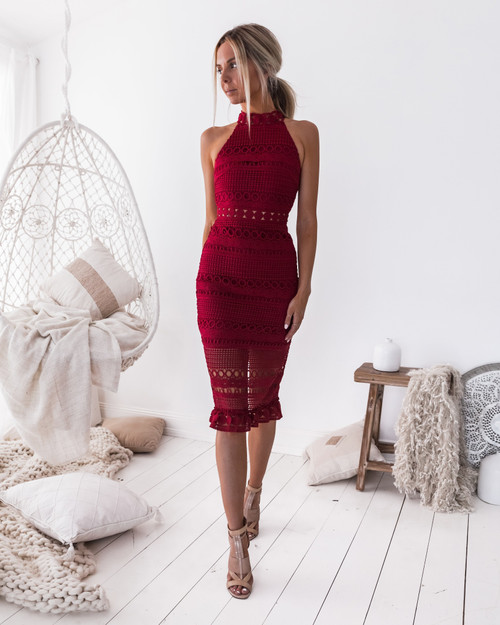 RIVERS MIDI DRESS IN RED - TWO SISTERS THE LABEL
