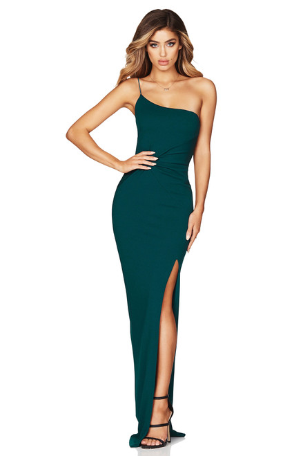 The Lust One Shoulder Gown in TEAL by Nookie.