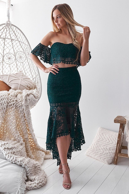 The Celine Set In Emerald Green Two Sisters the Label. Green Two Piece Lace Set