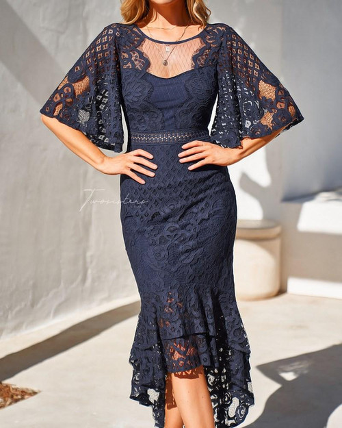 The Reyna Dress in Navy, Navy midi dress with flute sleeve by Two Sisters the Label