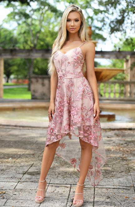Saskia High Low Dress - Embroidery Rose