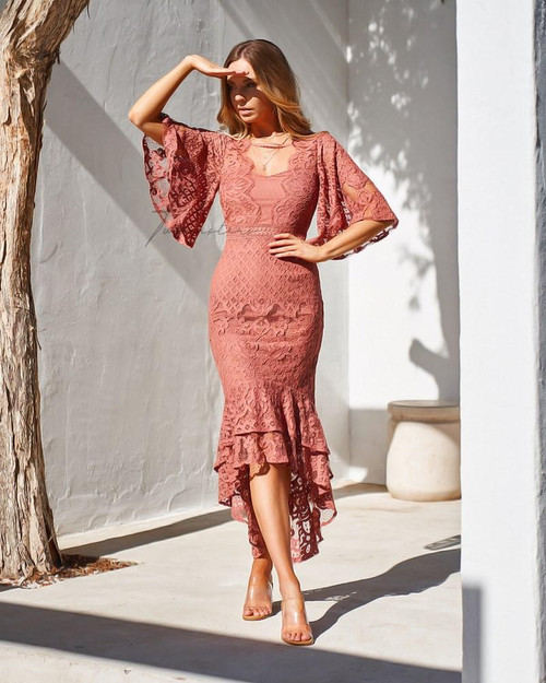 The Reyna Dress in Mauve, Mauve midi dress by Two Sisters the Label