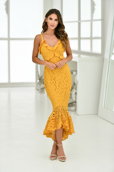 The Leanne Midi Dress - Mustard Midi length lace dress - Two Sister's the Label  Lady Black Tie