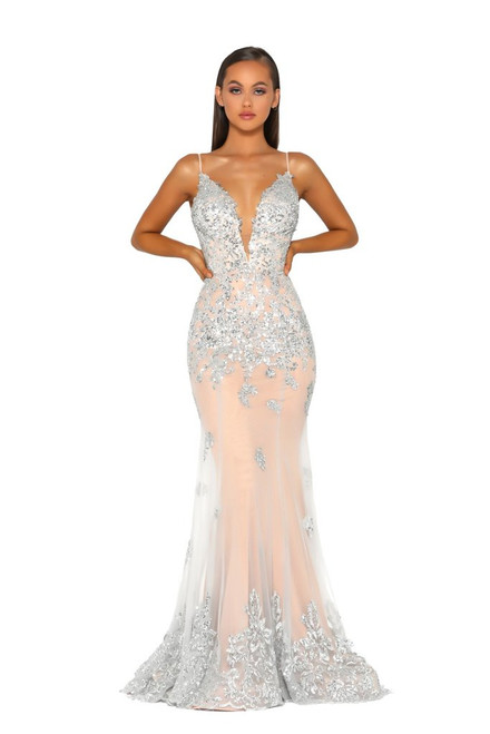 Silver on Nude PS5005 Gown by Portia and Scarlett from Lady Black Tie