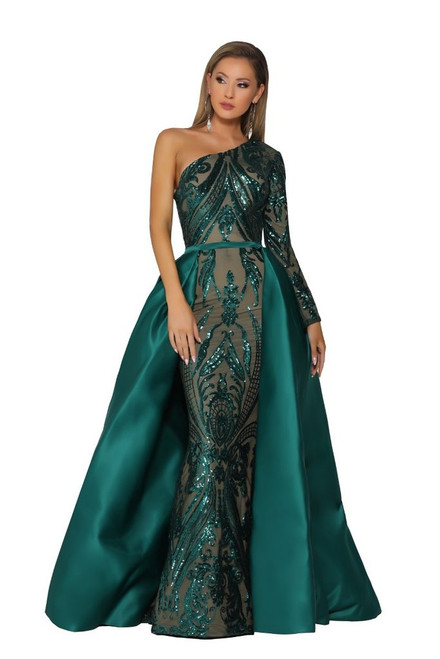 PS1705 portia and scarlett one shoulder Emerald Dress