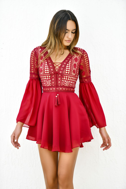 The Alyse Dress in Wine Red by Two Sisters the Label