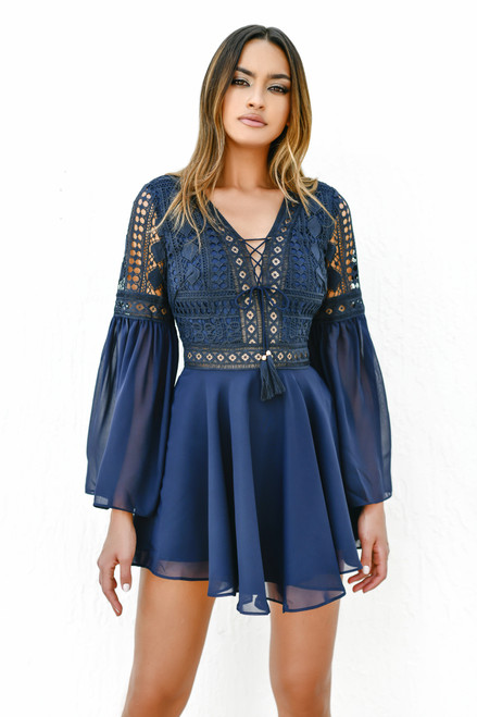 The Alyse Dress in Navy by Two Sisters the Label