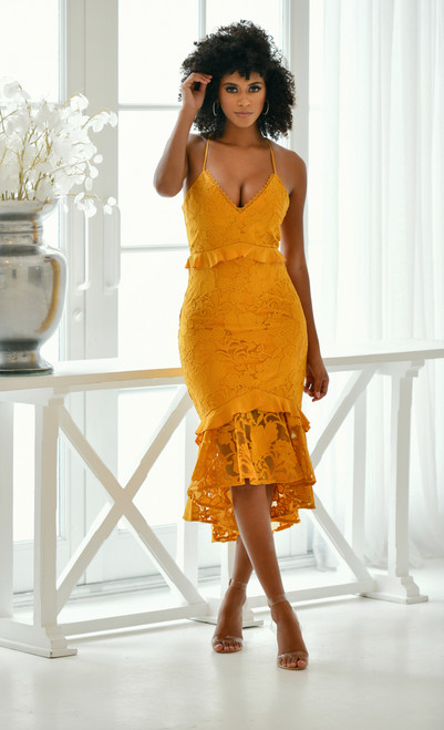 The Abby Dress in Mustard Yellow by Two Sisters the Label