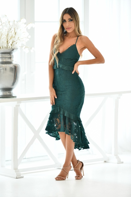 Abby Midi Dress - Emerald Green