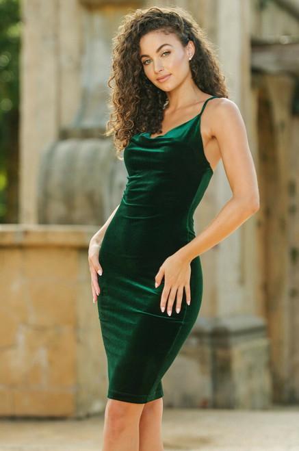 Nadia Midi Dress - Emerald Velvet