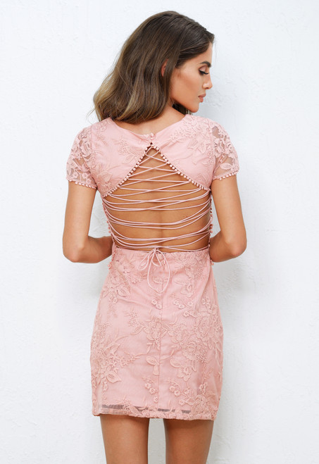 Shay Lace Dress in Pink by Two Sisters The Label from Lady Black Tie