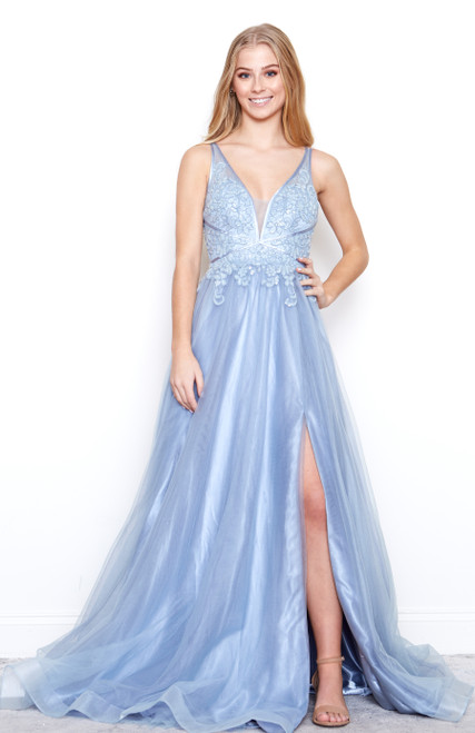 Style A0762 Dusty Blue by Andrea & Leo Couture from Lady Black Tie
