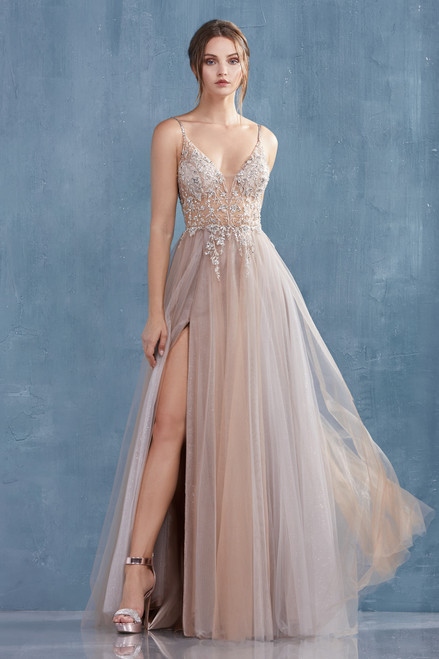 Style A1009 Silver Nude by Andrea and Leo Couture from Lady Black Tie