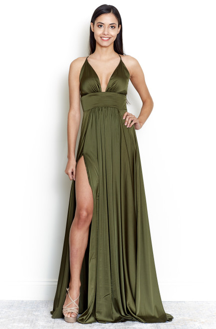 The Madeline Gown in Olive Green, Satin Prom dress in Olive Green