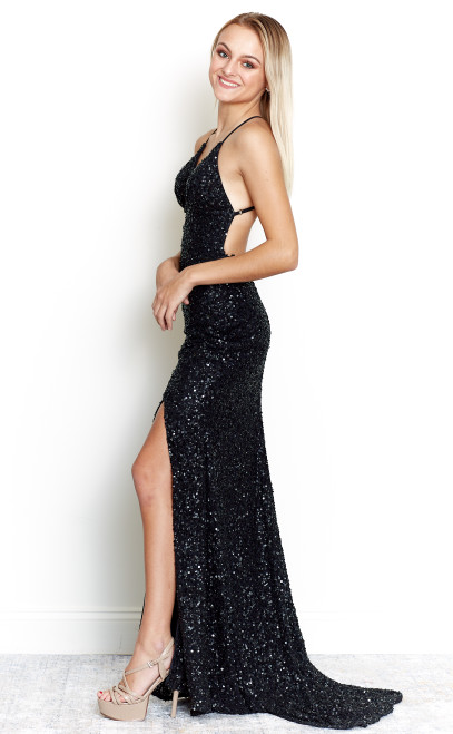 Rockefeller Sequin Gown with Slit-  Black - Lady Black Tie