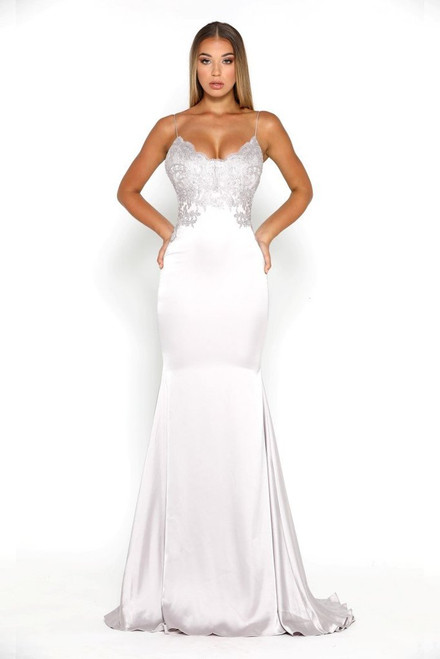 The Valentina Gown Silver by Portia & Scarlett from Lady Black Tie
