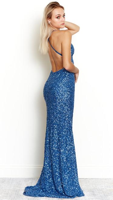 Rockefeller Sequin Gown in Sapphire Blue