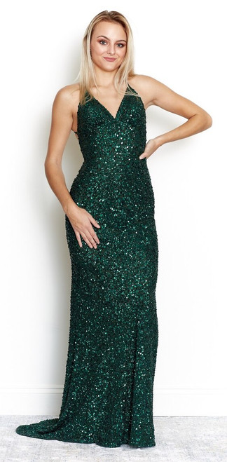 Rockefeller Sequin Gown Emerald Green from Lady Black Tie