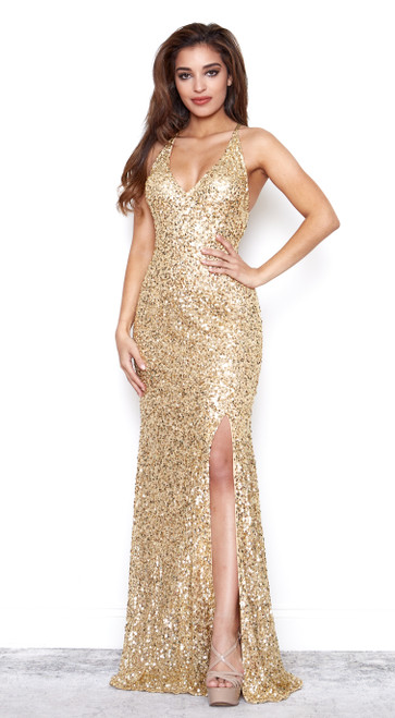 Rockefeller Dress with Slit Gold by Lady Black Tie