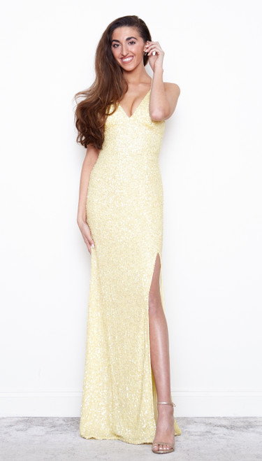 Rockefeller Dress with Slit Soft Yellow by Lady Black Tie