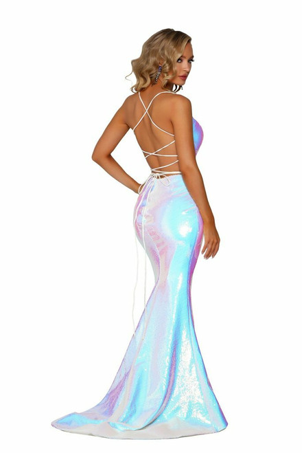 PS6521 MultiColor Pearl Gown with Slit by Portia and Scarlett