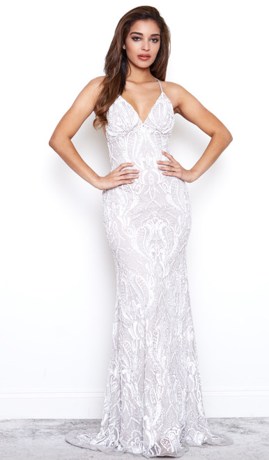 Art Deco Gatsby Gown Ivory with Grey Undertone