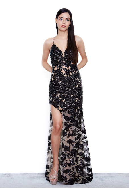 The Stellina Gown - Black / Nude
