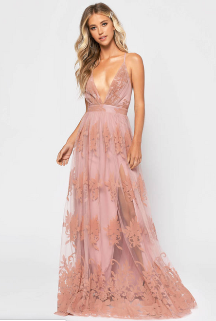 Promenade Maxi Dress in Blush - Lady Black Tie