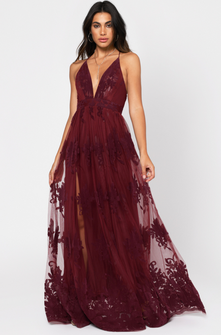 Promenade Maxi Dress in Wine Red - Lady Black Tie