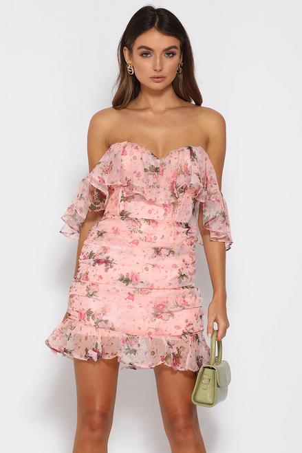 Ornella Dress - Pink Floral Mini Dress