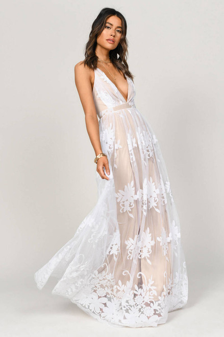 Promenade Maxi Dress in White on Nude, Lady Black Tie