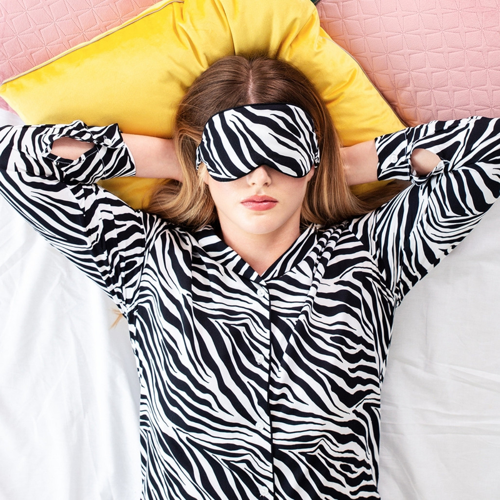 Black & White Zebra Bamboo Eye Mask