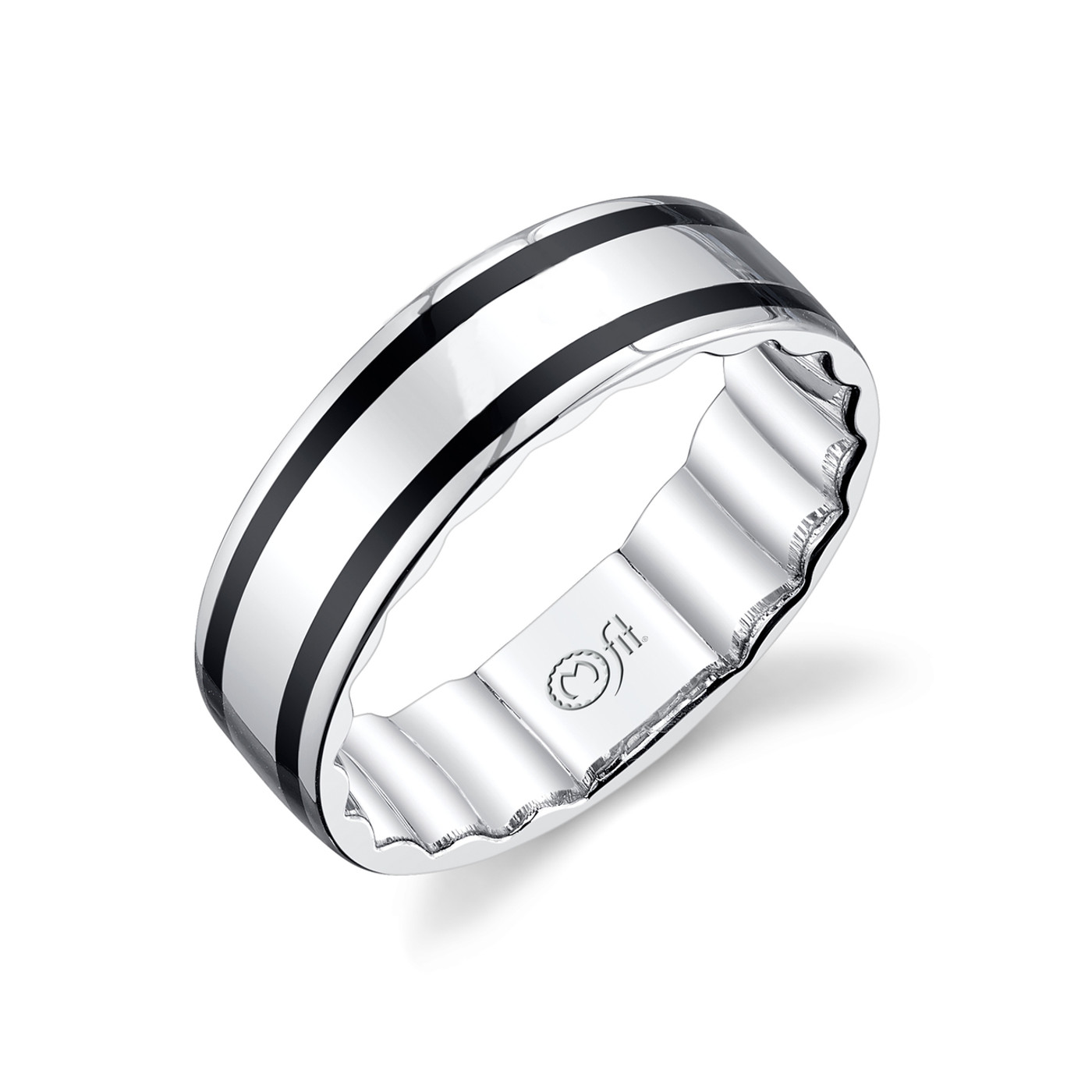 10K White Gold Mfit Men's Wedding Band w/Black Inlay