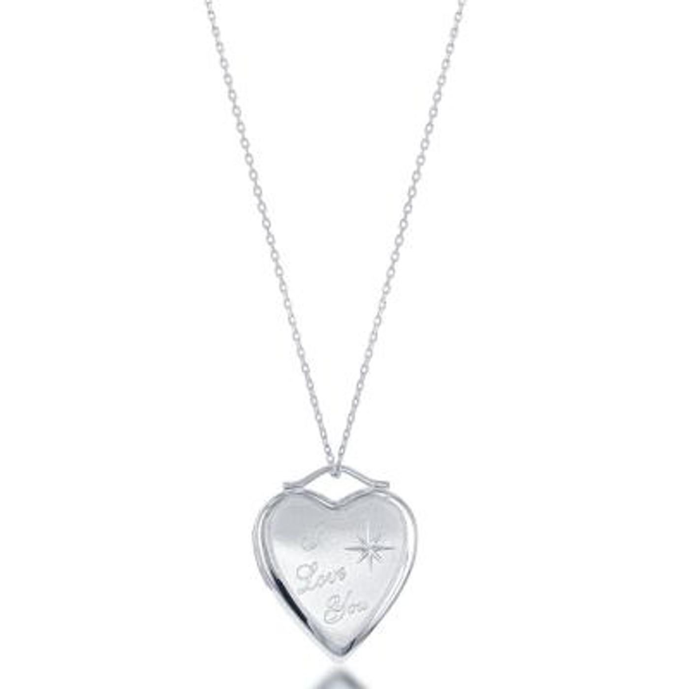 "Sterling Silver ""I Love You"" Diamond Cut Heart Locket"