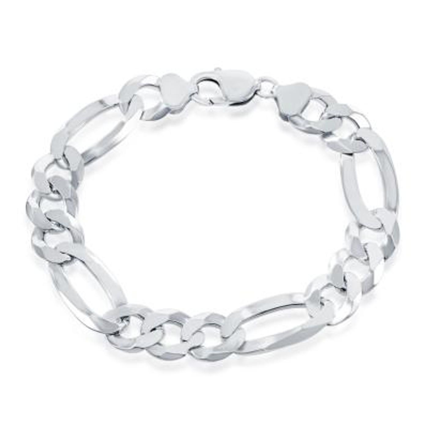 """Sterling Silver 9"""" 13.3mm Figaro Link Bracelet"""