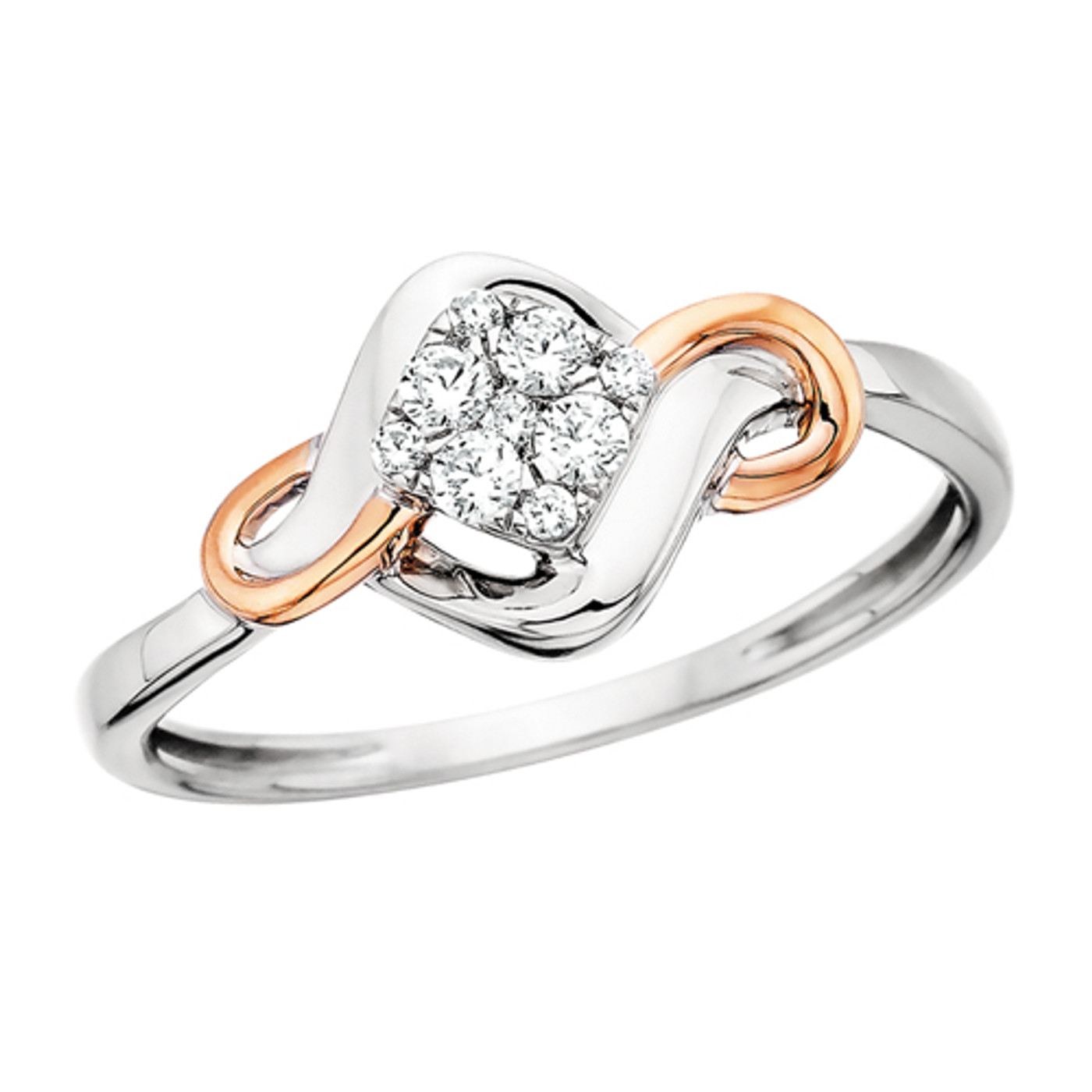 10K Two Tone White & Rose Gold Diamond Shape Cluster Ring 0.15 DTW