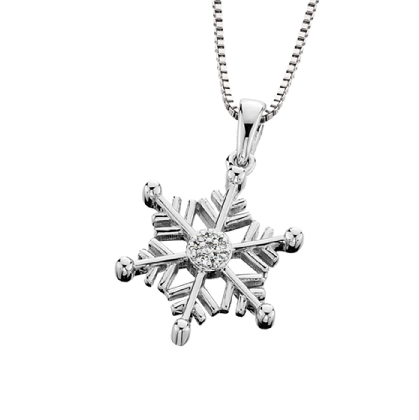 "SS & Diamond Snowflake Pendant w/18"" Box Chain 0.025 DTW"